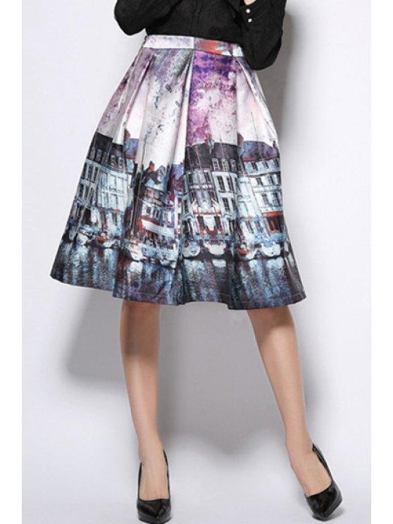 hot A-Line Scenery Print Midi Skirt - PURPLE XL