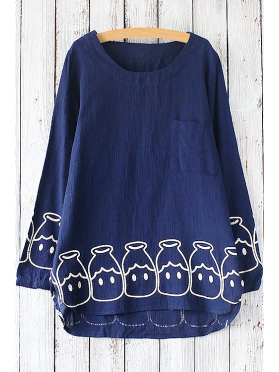 fancy Printed Pocket Round Collar Long Sleeves T-Shirt - BLUE ONE SIZE(FIT SIZE XS TO M)