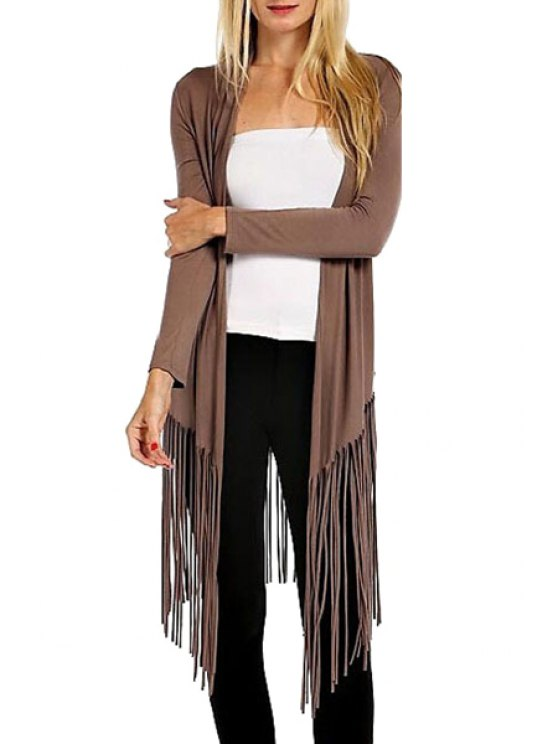 outfit Open Front Tassels Trench Coat - BROWN S