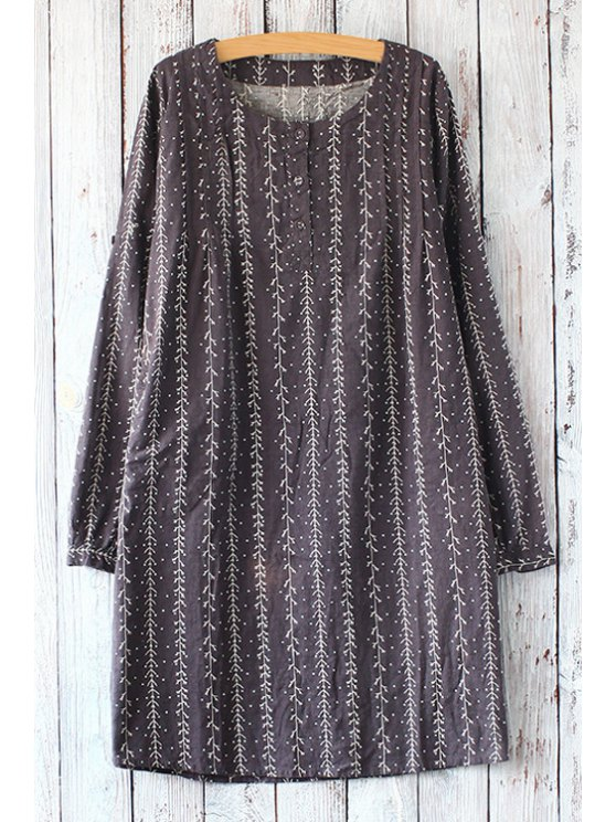 chic Tree Print Striped Round Collar Long Sleeves Dress - DEEP GRAY ONE SIZE(FIT SIZE XS TO M)