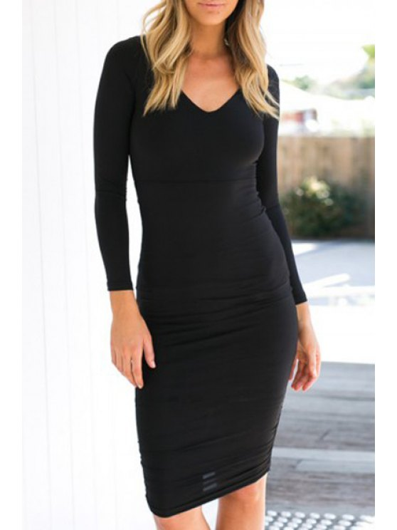 lady Solid Color Backless Long Sleeve Bodycon Dress - BLACK S