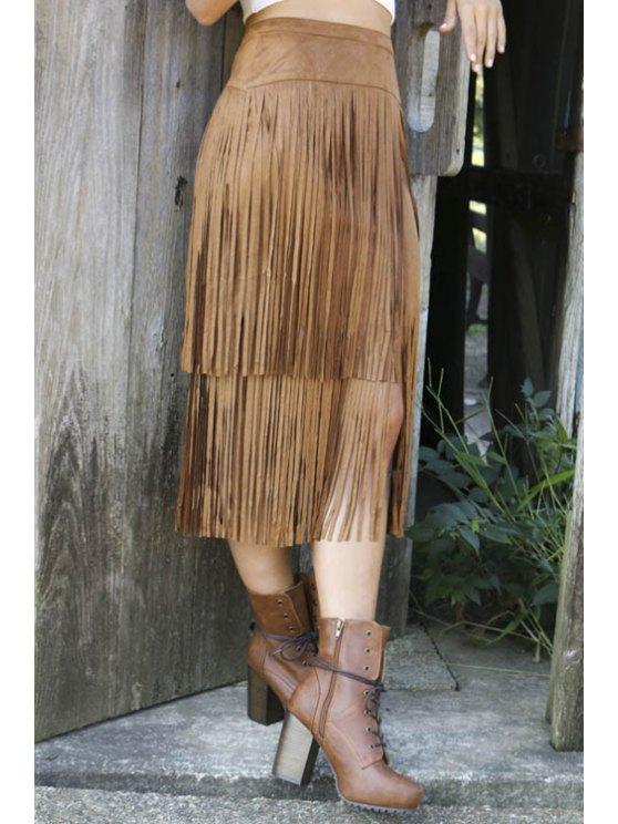 best Tassels Splicing High Waisted Skirt - BROWN S