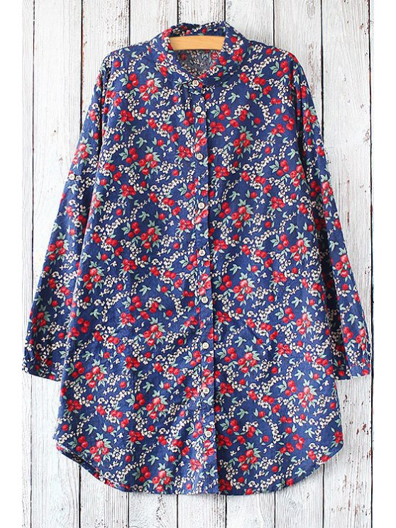 online Tiny Floral Print Flat Collar Long Sleeves Blouse - DEEP BLUE ONE SIZE(FIT SIZE XS TO M)