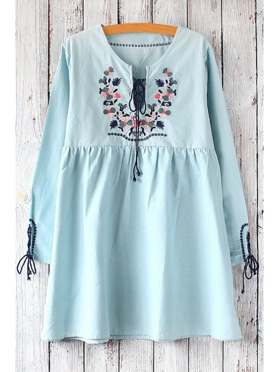 sale Lace-Up Embroidery Round Collar Long Sleeves Dress - LIGHT BLUE ONE SIZE(FIT SIZE XS TO M)