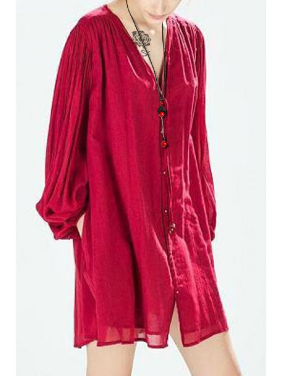 women's Pure Color V Neck Long Sleeve Loose Dress - RED S