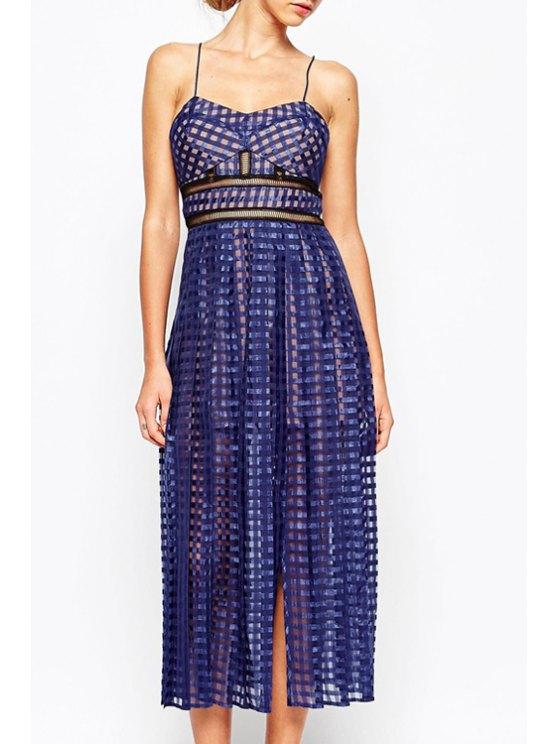 new Mesh Design Side Slit Voile Dress - BLUE S