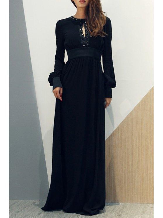affordable Hollow Back Rivet Embellished Maxi Dress - BLACK S