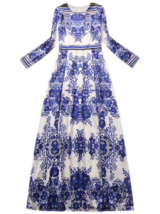womens Blue and White Porcelain Printed Long Sleeves Maxi Dress - BLUE S