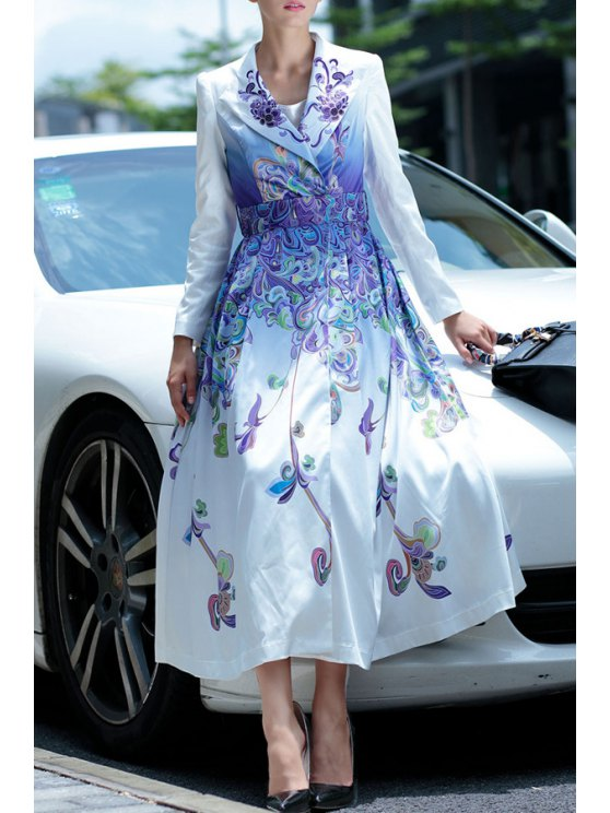 outfit Turn-Down Collar Long Sleeves Retro Print Waisted Maxi Dress - WHITE S