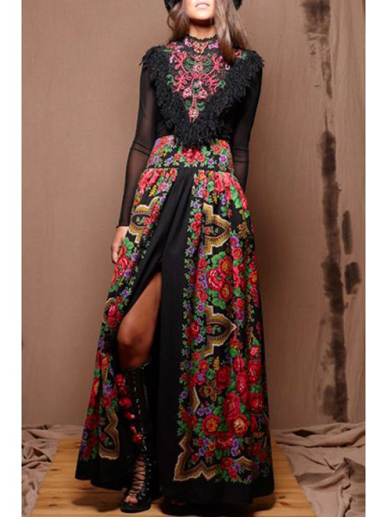 sale Retro Embroidery Print Long Sleeves Fringes Maxi Dress - BLACK S