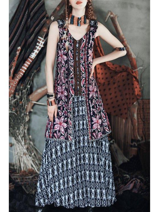 new Flowers Print V Neck Sleeveless Maxi Dress - COLORMIX XS