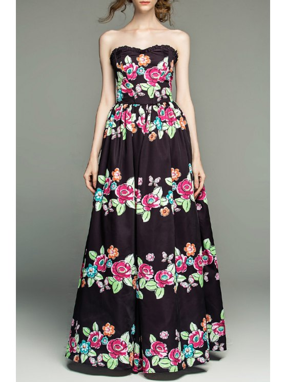fashion Strapless Floral Lace-Up Prom Dress - BLACK S