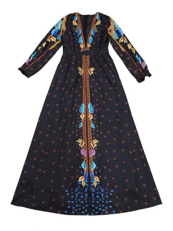 sale Plunging Neck Long Sleeves Retro Print Maxi Dress - BLACK S