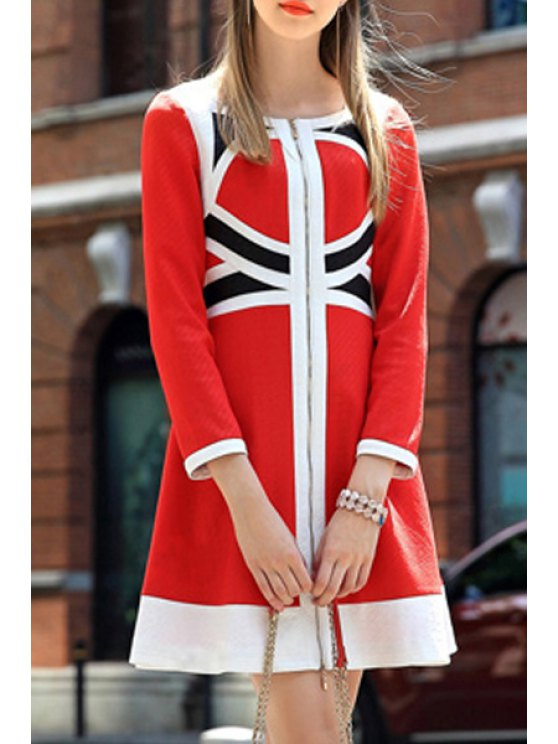 affordable Color Block High Waisted Dress - RED S