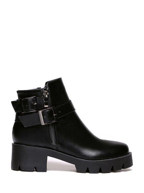 sale Buckle Black Platform Short Boots - BLACK 35