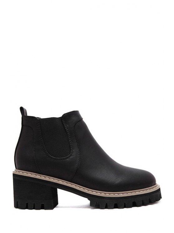 women Elastic Platform Pure Color Ankle Boots - BLACK 35