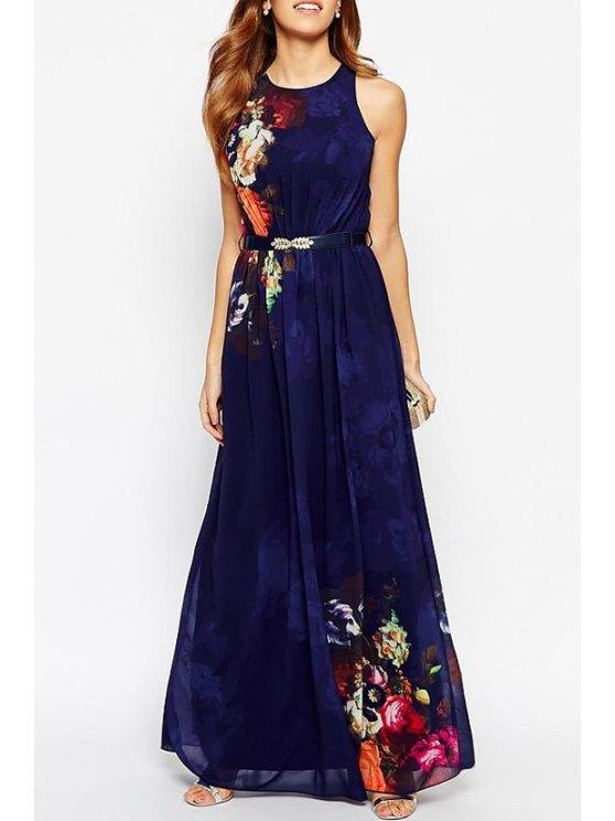 latest Flower Print Round Collar Sleeveless Maxi Dress - DEEP BLUE S