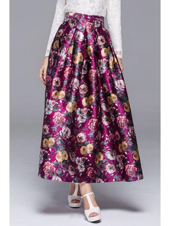 fancy Ball Gown Rose Print Pocket Women's Skirt - PURPLISH RED S