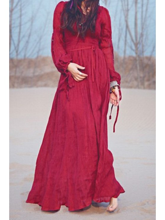 Wine Red Plunging Neck Long Sleeve Maxi Dress WINE RED: Maxi ...