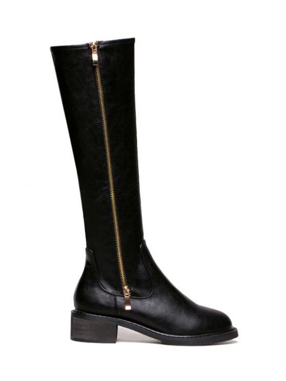 trendy Zipper Black Round Toe Mid-Calf Boots - BLACK 35
