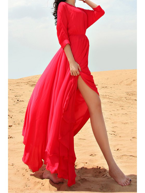 lady Red Half Sleeve Maxi Dress - RED S