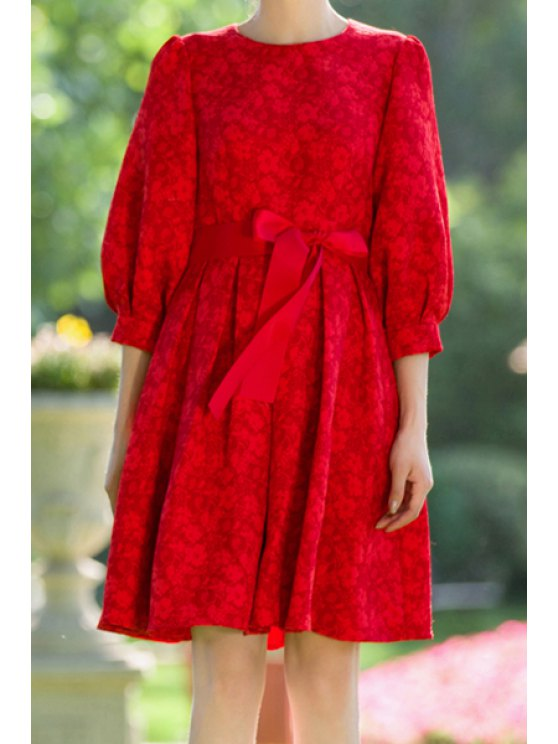 fancy Red Round Neck 3/4 Sleeve A Line Dress - RED S