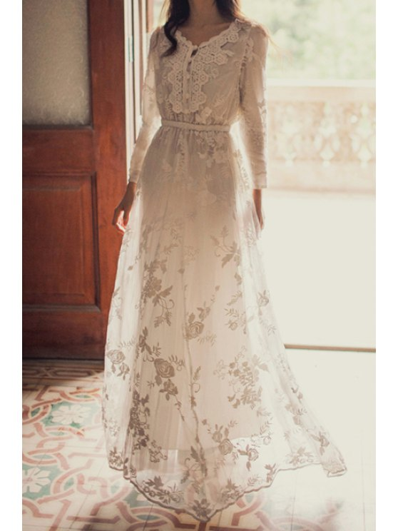hot Floral Embroidered Long Sleeves Maxi Dress - WHITE S