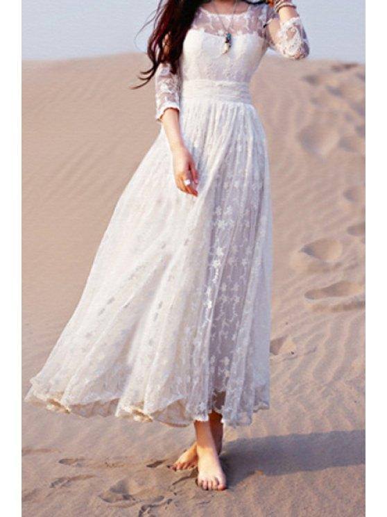 shops Lace White 3/4 Sleeve Maxi Dress - WHITE S