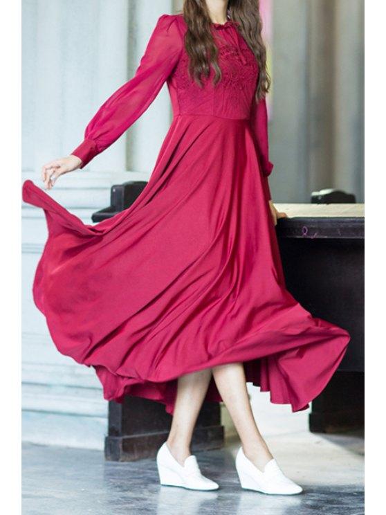 best Crochet Flower Spliced Long Sleeve Maxi Dress - RED S