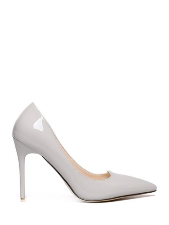 fancy Pointed Toe Stiletto Pure Color Pumps - GRAY 34