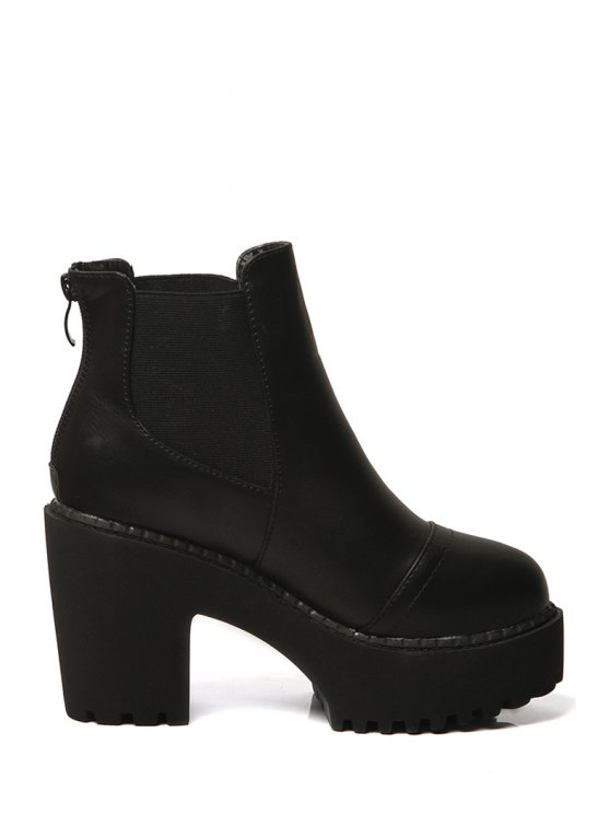 sale Black Platform Zipper High Heel Boots - BLACK 35