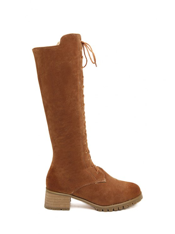 shops Chunky Heel Stitching Suede Mid-Calf Boots - BROWN 35