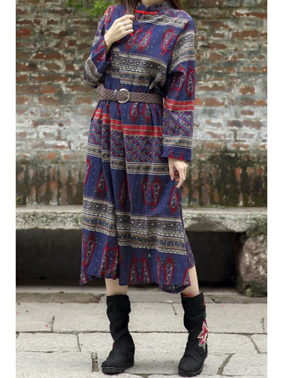best Paisley Print Stand Neck Long Sleeve Dress - BLUE ONE SIZE(FIT SIZE XS TO M)