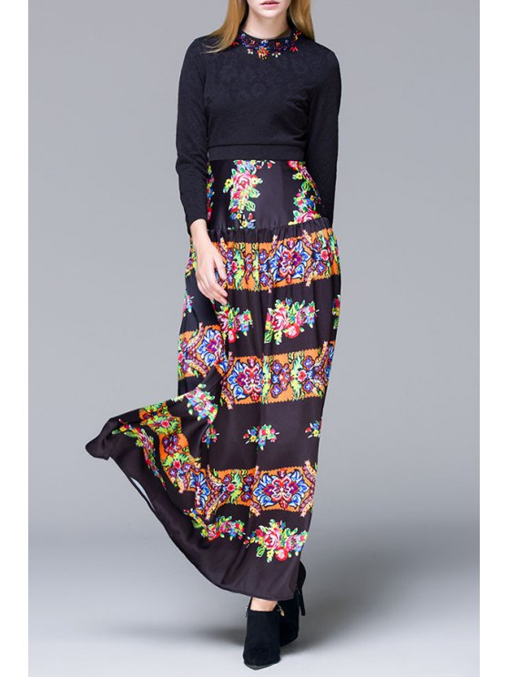 trendy Retro Floral Print Long Sleeves Maxi Dress - BLACK S