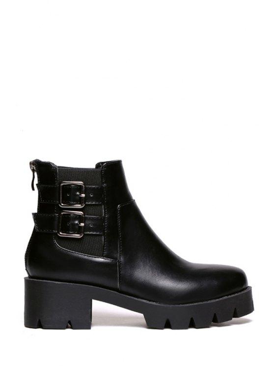 unique Black Zipper Buckles Ankle Boots - BLACK 35