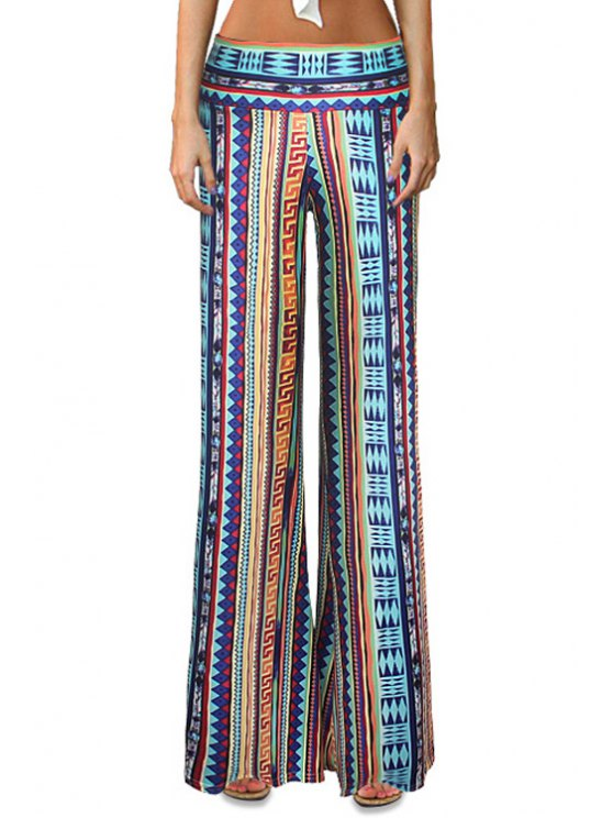 trendy Geometric Print Striped Bell Bottoms - COLORMIX S