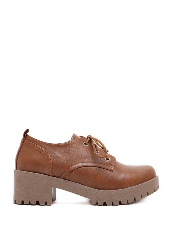 women Pure Color Platform Lace-Up Ankle Boots - BROWN 35