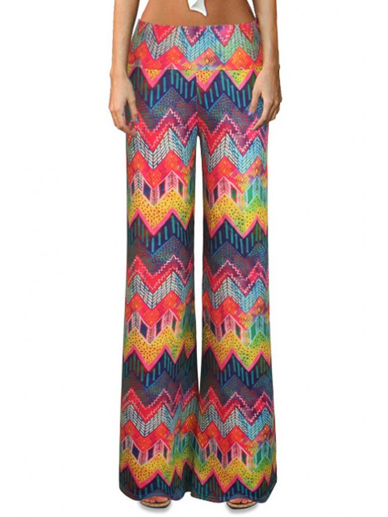 best Chevron Stripe Colorful Bell Bottoms - COLORMIX S