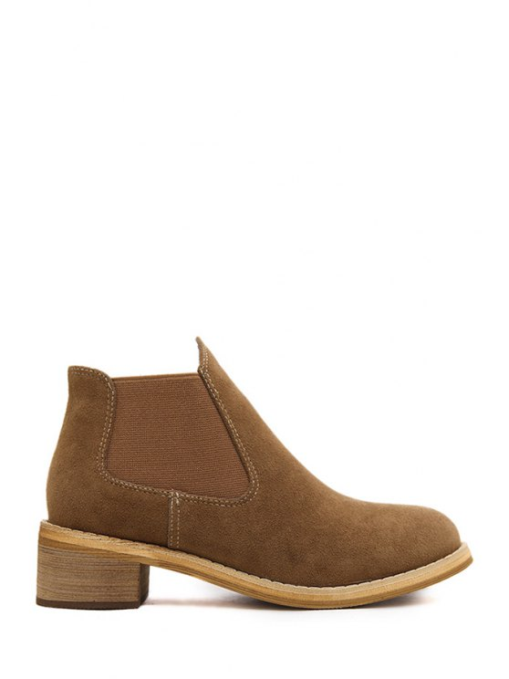 latest Pure Color Suede Elastic Short Boots - BROWN 35