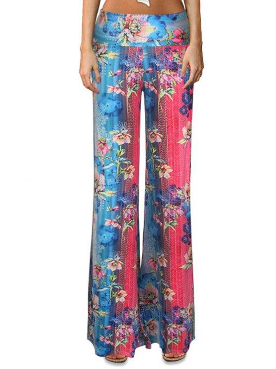 womens Floral Color Block Flare Leg Pants - COLORMIX S