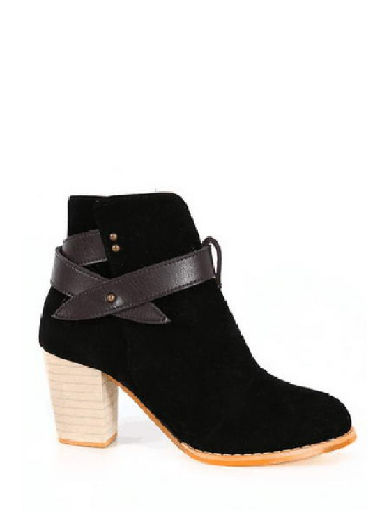 affordable Criss-Cross Chunky Heel Suede Short Boots - BLACK 35