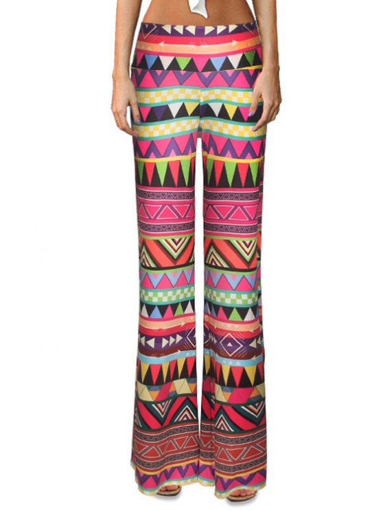 latest Triangle Pattern Flare Leg Pants - COLORMIX S
