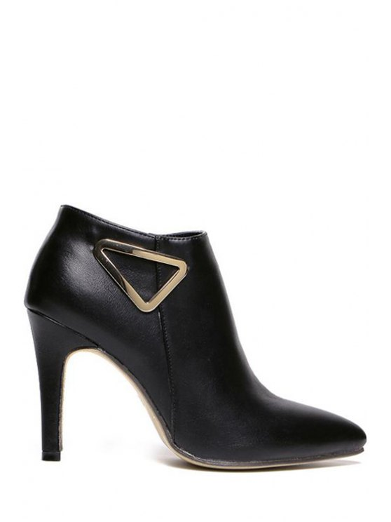 chic Metallic Triangle Zipper Black High Heel Boots - BLACK 35