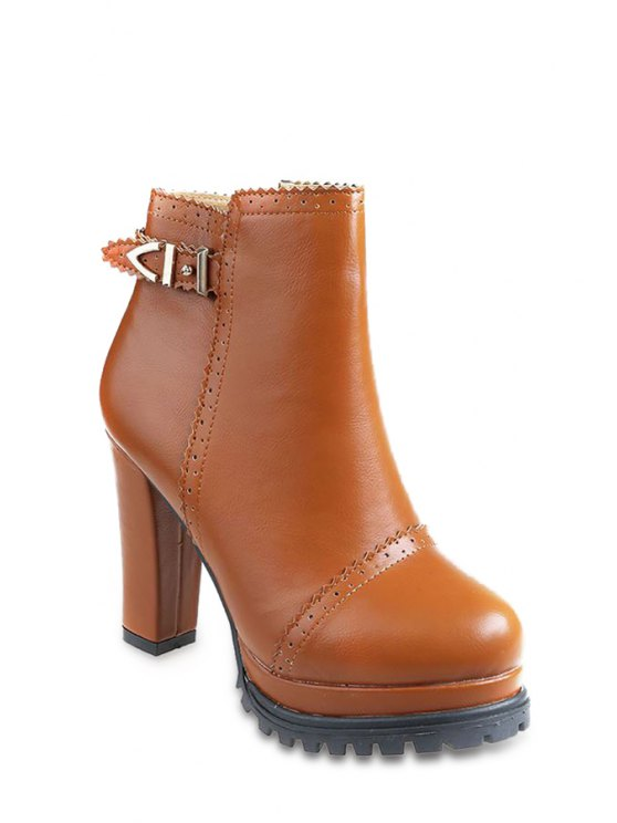 hot Engraving Pure Color Buckle High Heel Boots - BROWN 39