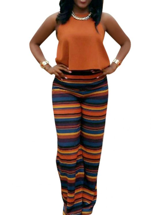 outfit Solid Color Tank Top + Striped Palazzo Pants Suit - ORANGE S