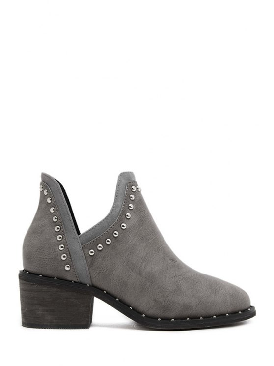 trendy Rivets Pure Color Hollow Out Short Boots - GRAY 35