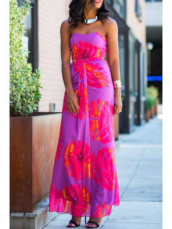 unique Tube Top and High-Waisted Long Skirt Suit - PURPLE S