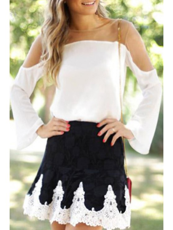 best See-Through Long Sleeves Voile Spliced Blouse - WHITE S