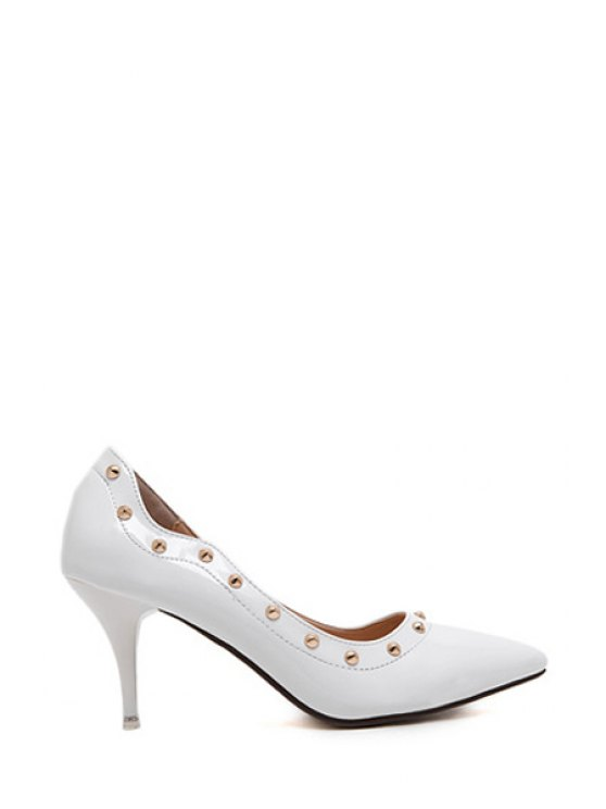 outfit Rivet Stiletto Heel Pointed Toe Pumps - WHITE 34
