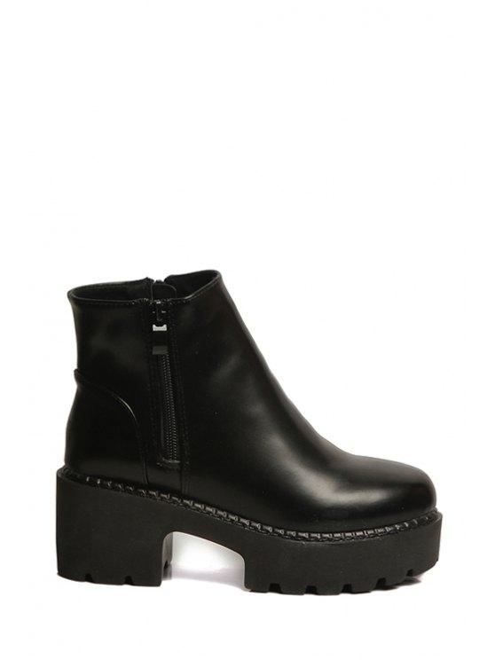 unique Platform Chunky Heel Black Short Boots - BLACK 34